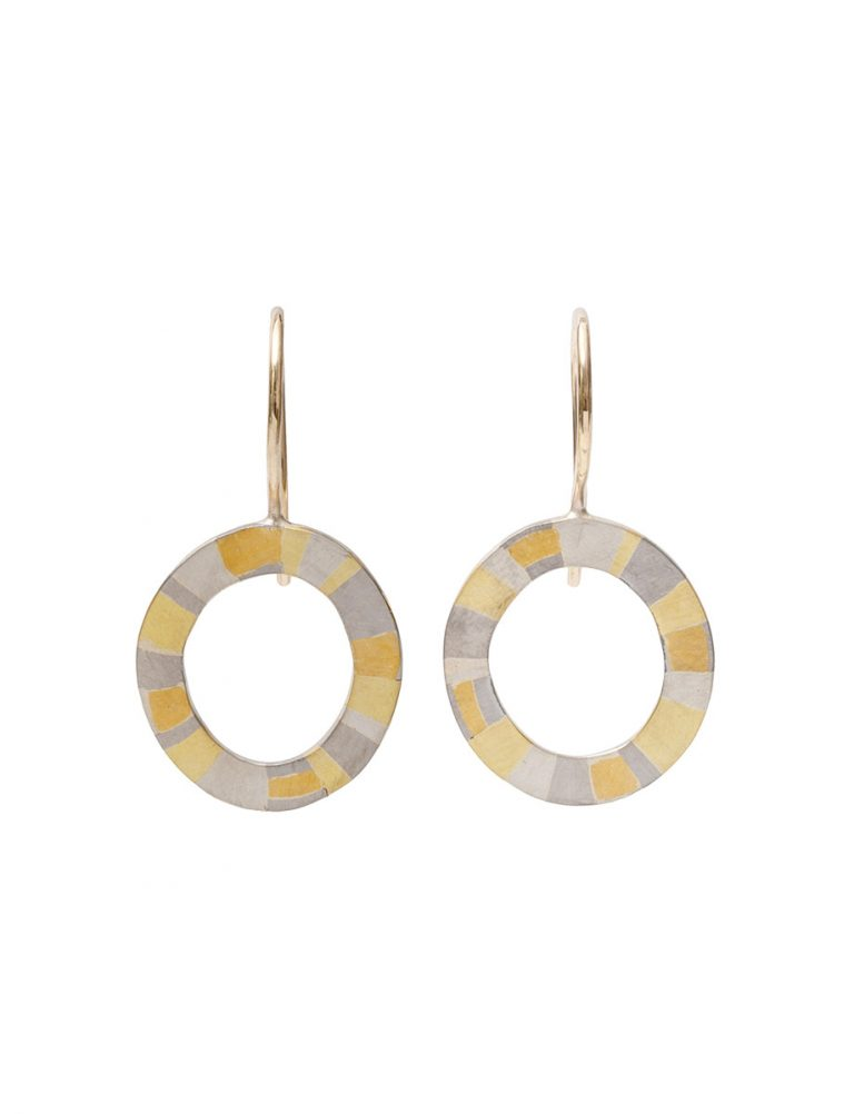 Infinite Terrain Hook Earrings – White & Yellow Gold