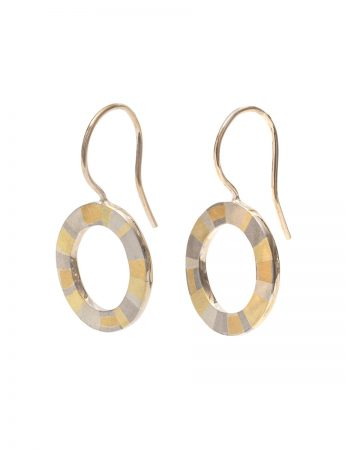 Infinite Terrain Hook Earrings - White & Yellow Gold