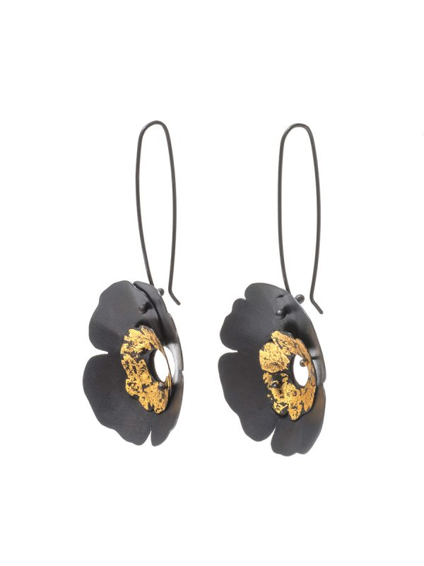 Large Anemone Earrings – Black and Gold