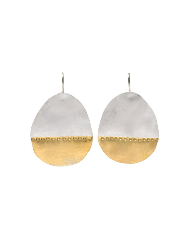 Large Balloon Drop Hook Earrings – Silver and Gold