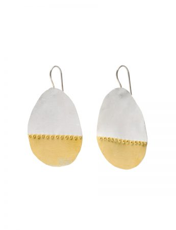 Large Balloon Drop Hook Earrings - Silver and Gold