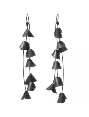 Long Jungle Cactus Earrings - Black