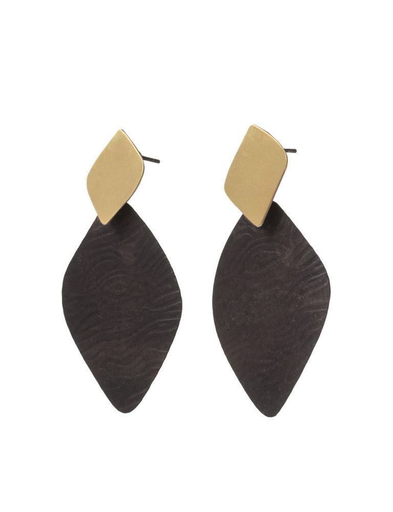 Black & Gold Wood Grain Earrings – Medium