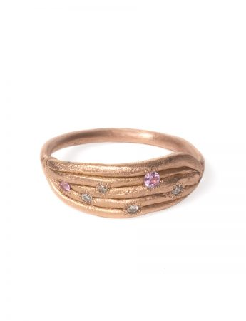 Neru Noodle Ring- Rose Gold, Diamond and Sapphire
