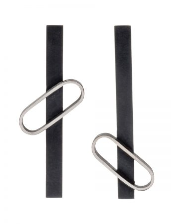 Oval Floating Outline Earrings - Black & Silver