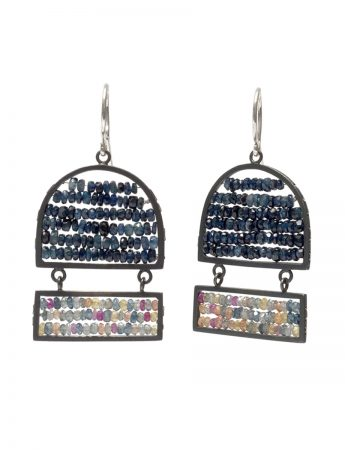 Reef Wide Arch & Rectangle Earrings - Sapphire, Ruby & Emerald