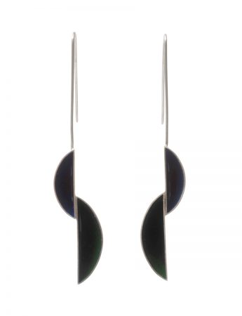 Slipped Pod Earrings - Navy Blue & Dark Green