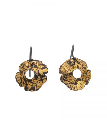 Small Anemone Earrings - Black & Gold