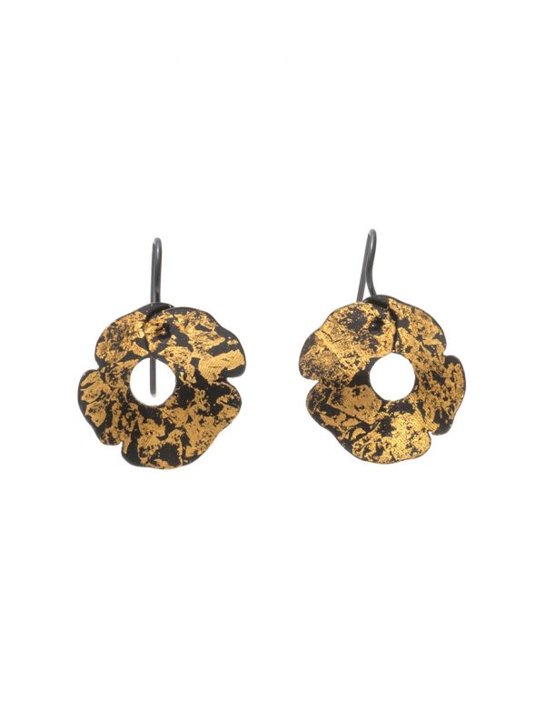 Small Anemone Earrings – Black & Gold