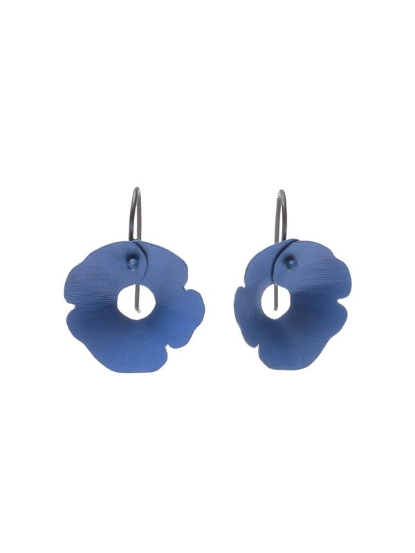 Small Anemone Earrings – Black & Blue