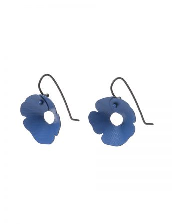 Small Anemone Earrings - Black & Blue