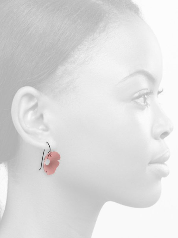 Small Anemone Earrings – Pink & Black