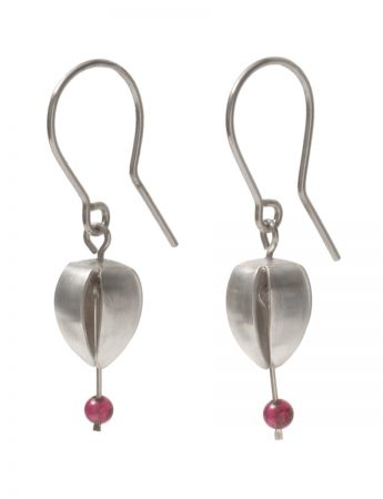 Small Correa Bud Hook Earrings - Silver and Garnet Beads