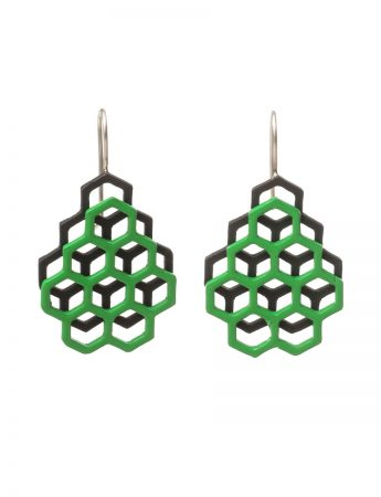 Small Double Hexagon Earrings – Green & Black