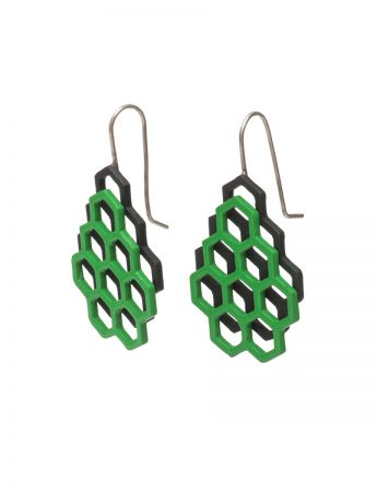 Small Double Hexagon Earrings - Green & Black