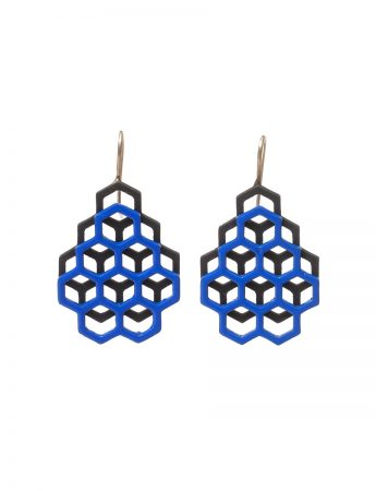Small Double Honeycomb Earrings - Blue & Black