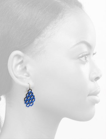 Small Double Honeycomb Earrings – Blue & Black