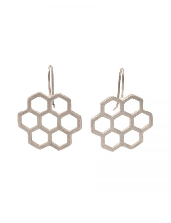 Small Hexagon Earrings – Silver