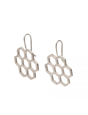 Small Hexagon Earrings - Silver