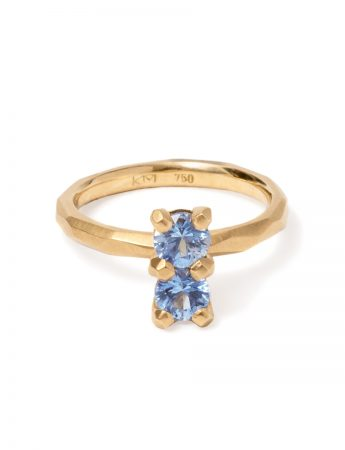 Soul Mate Ring - Yellow Gold & Cornflower Blue Sapphires