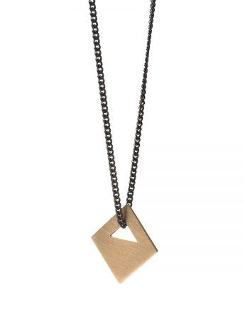 Square Tab Necklace - Gold and Black
