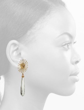 Star Bloom Earrings – Mint Quartz & Diamonds