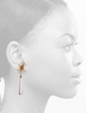 Star Bloom Earrings – Rose Quartz & Diamonds