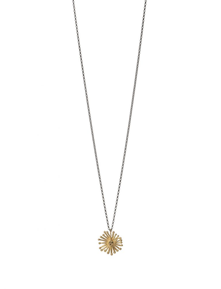 Starburst Necklace – Gold & Black Diamond