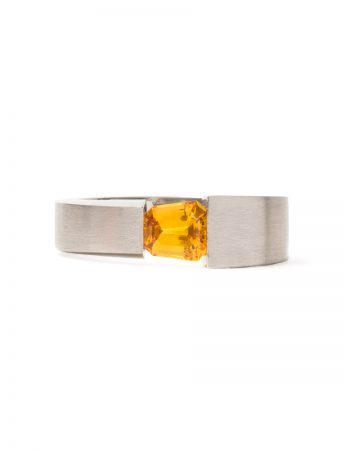 Tension Set Ring - Orange Sapphire