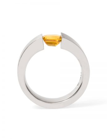 Tension Set Ring – Orange Sapphire