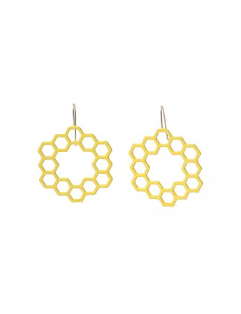 Hexagon Hollow Circle Earrings - Yellow