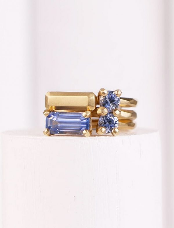 Faceted Ring – Yellow Gold & Cornflower Blue Sapphire