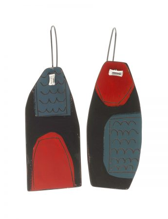 Apron Still Life Reversible Earrings - Blue, Red & White