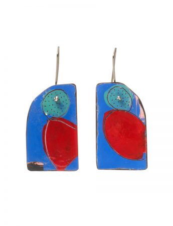 Apron Still Life Reversible Earrings - Blue, Red & Teal