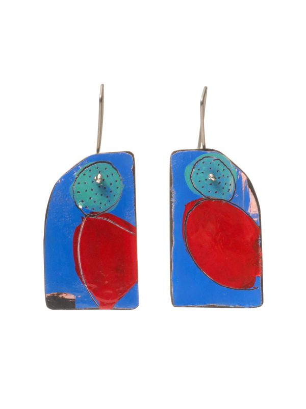 Apron Still Life Reversible Earrings – Blue, Red & Teal