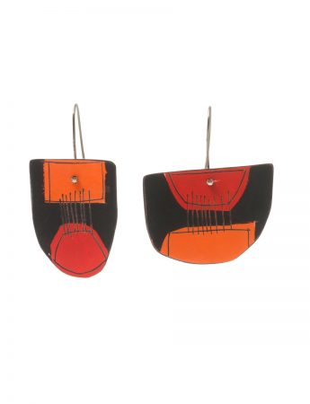 Apron Still Life Reversible Earrings - Orange, Red & White