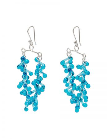 Glass Chandelier Earrings - Aqua