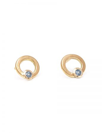 Asymmetric Halo Stud Earrings - Pale Blue Sapphires