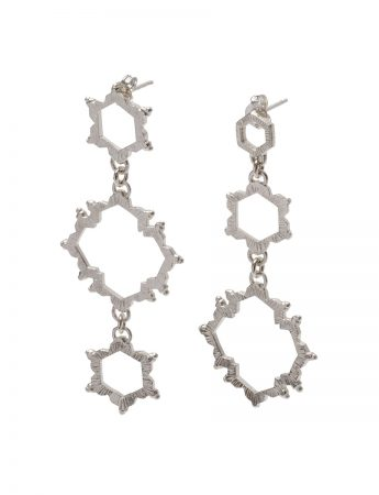 Asymmetrical Water Frequency Earrings - Silver
