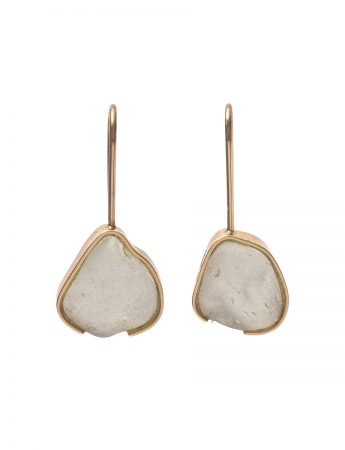 White Beach Glass Earrings - Yellow Gold