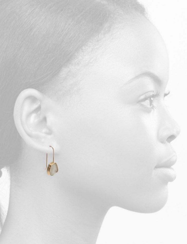 White Beach Glass Earrings – Yellow Gold