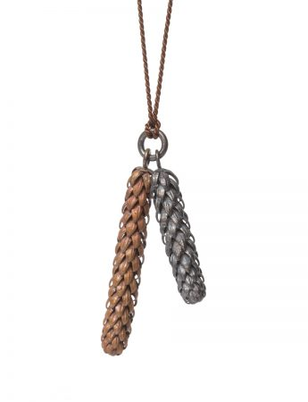 Beachcomber Long Double Drop Necklace - Black & Bronze