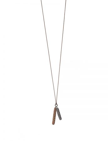 Beachcomber Long Double Drop Necklace – Black & Bronze