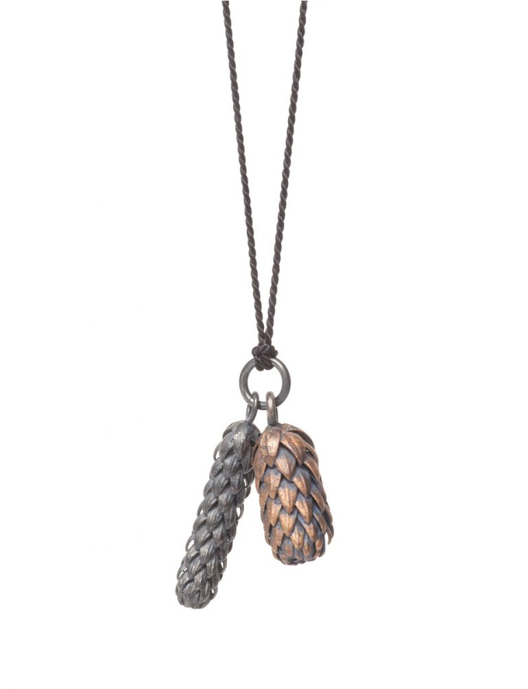Beachcomber Double Drop Pendant Necklace – Black & Bronze