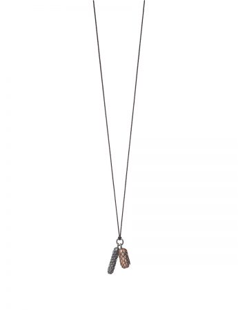 Beachcomber Double Drop Pendant Necklace - Black & Bronze
