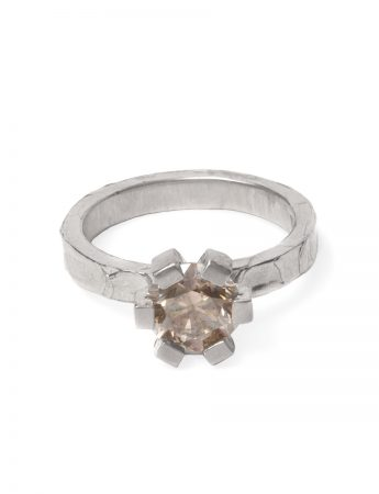 Big Smokey Ring – White Gold with Diamond