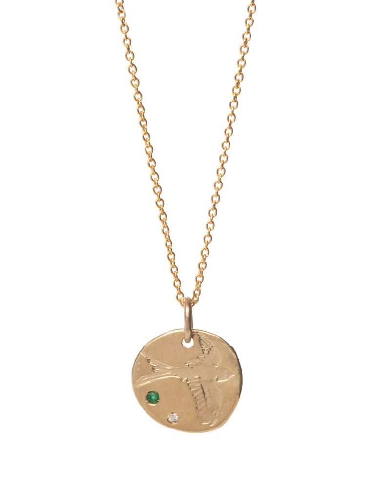 Bird Pendant Necklace – Emerald & Diamond