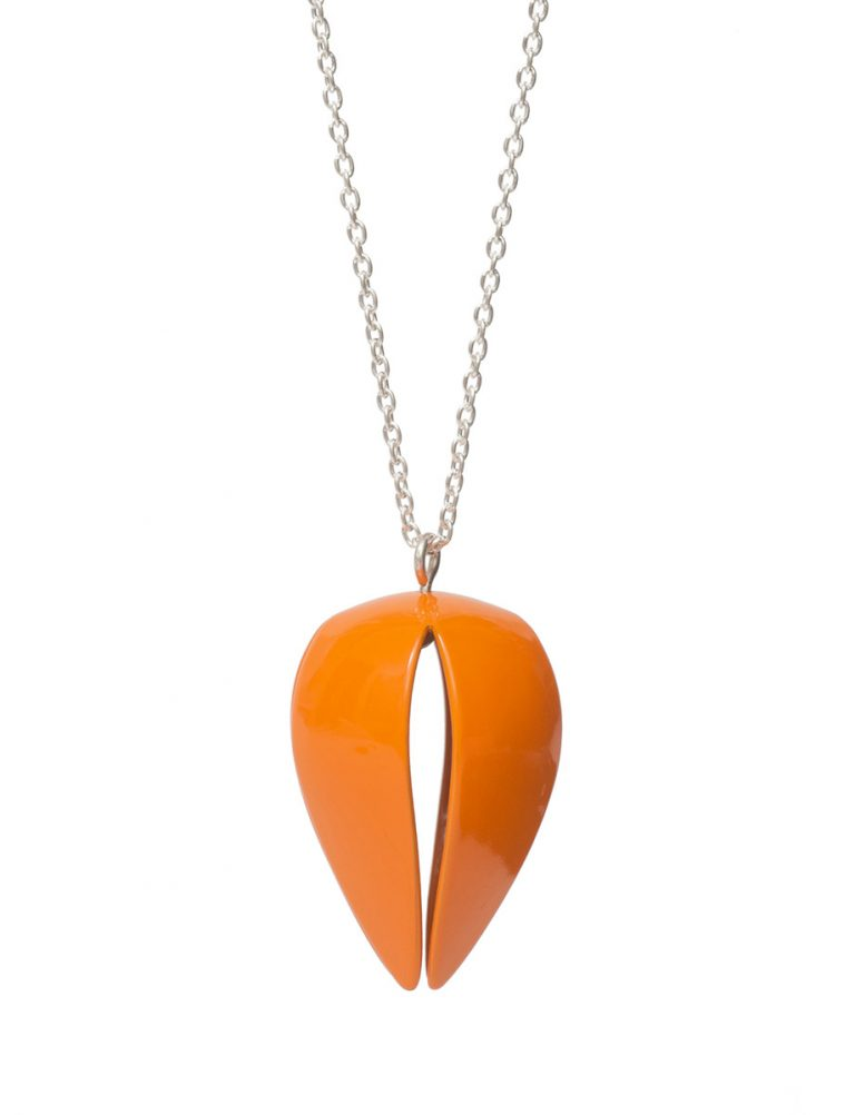 Boronia Budding Flower Pendant Necklace – Orange