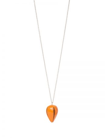 Boronia Budding Flower Pendant Necklace - Orange