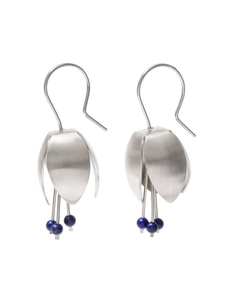 Boronia Flower Earrings – Silver & Lapis Lazuli